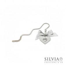 Segnalibro bacchetta rodio con cuore grigio