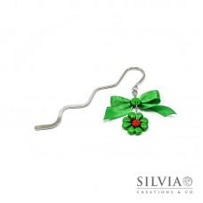 Segnalibro bacchetta rodio con quadrifoglio verde e coccinella