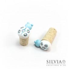 Tappo in sughero con coccinella bianca e azzurra