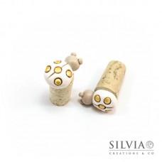 Tappo in sughero con coccinella bianca e beige