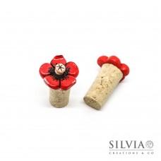 Tappo in sughero con fiore rosso e beige