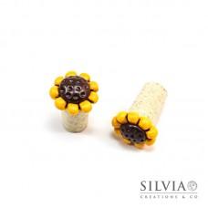 Tappo in sughero con girasole giallo