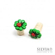 Tappo in sughero con quadrifoglio verde e coccinella